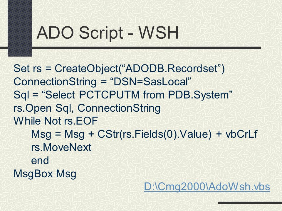 ADO Script - WSH