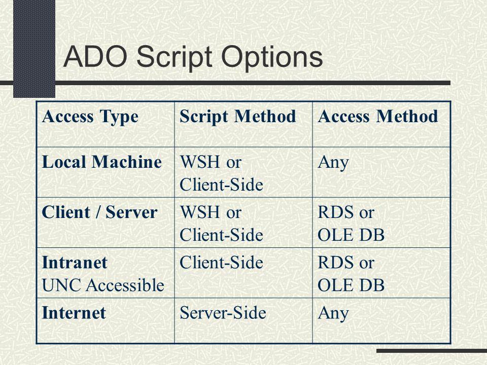 ADO Script Options Access Type Script Method Access Method