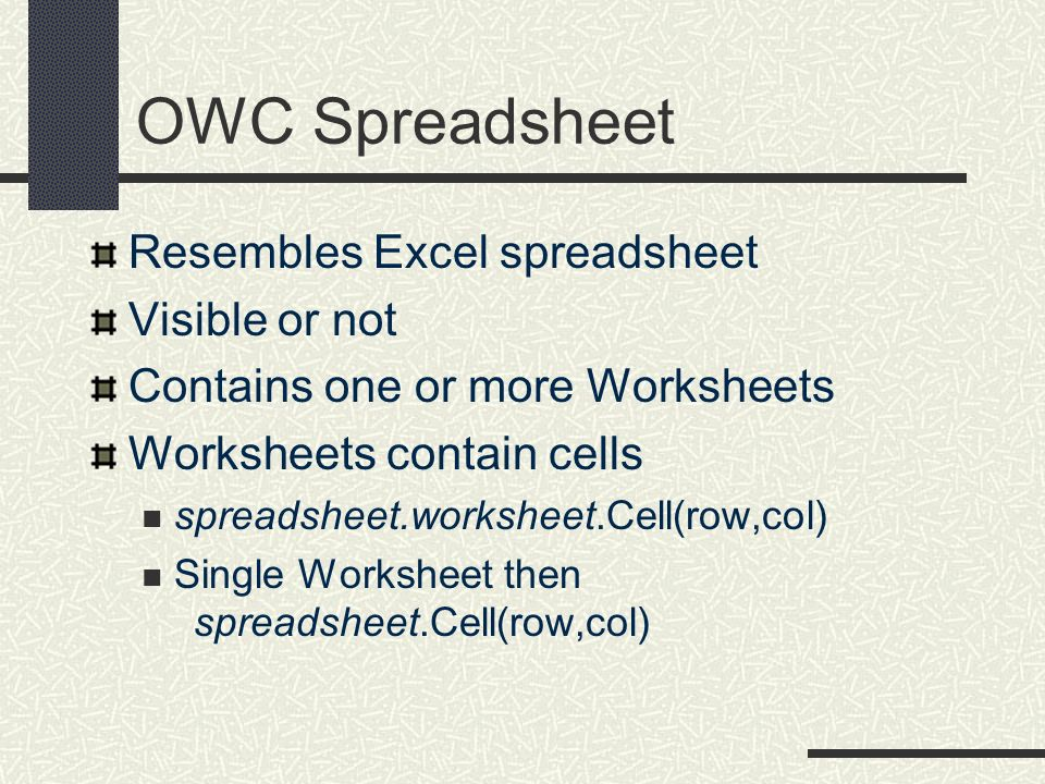 OWC Spreadsheet Resembles Excel spreadsheet Visible or not