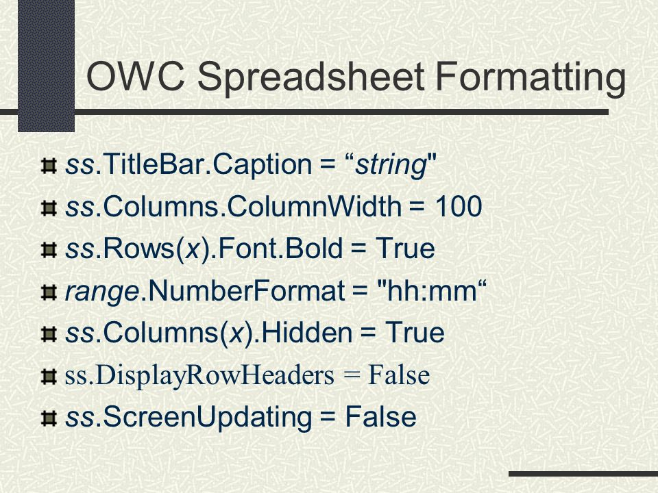 OWC Spreadsheet Formatting