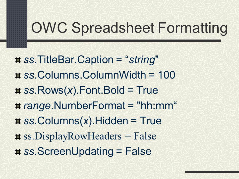 OWC Spreadsheet Formatting