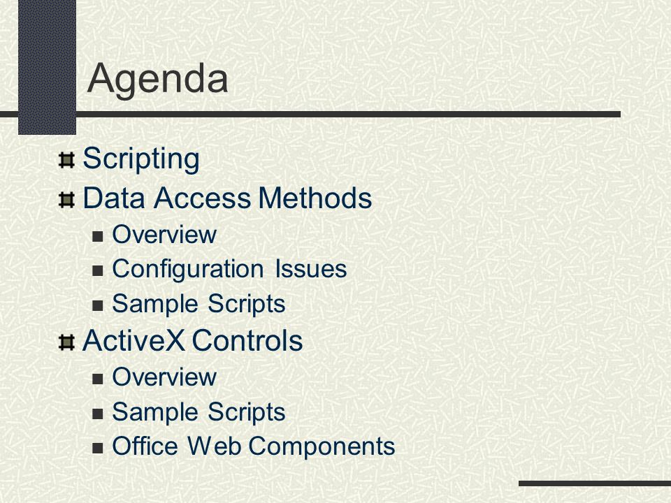 Agenda Scripting Data Access Methods ActiveX Controls Overview