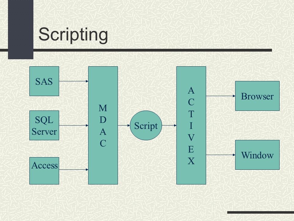 Scripting SAS M Browser T D I A V C E X SQL Script Server Window