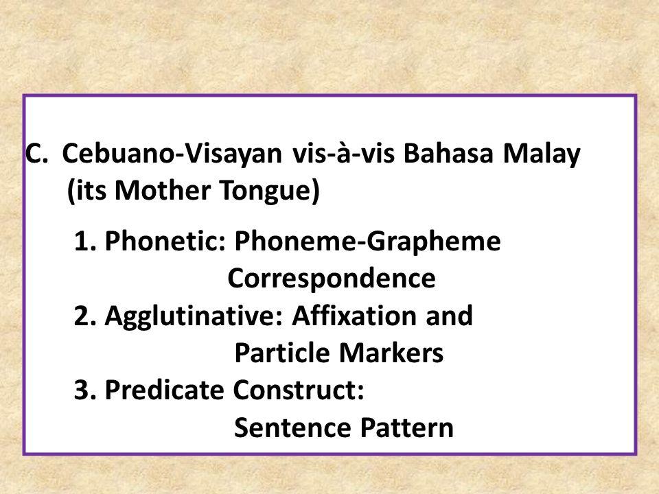 Cebuano-Visayan vis-à-vis Bahasa Malay