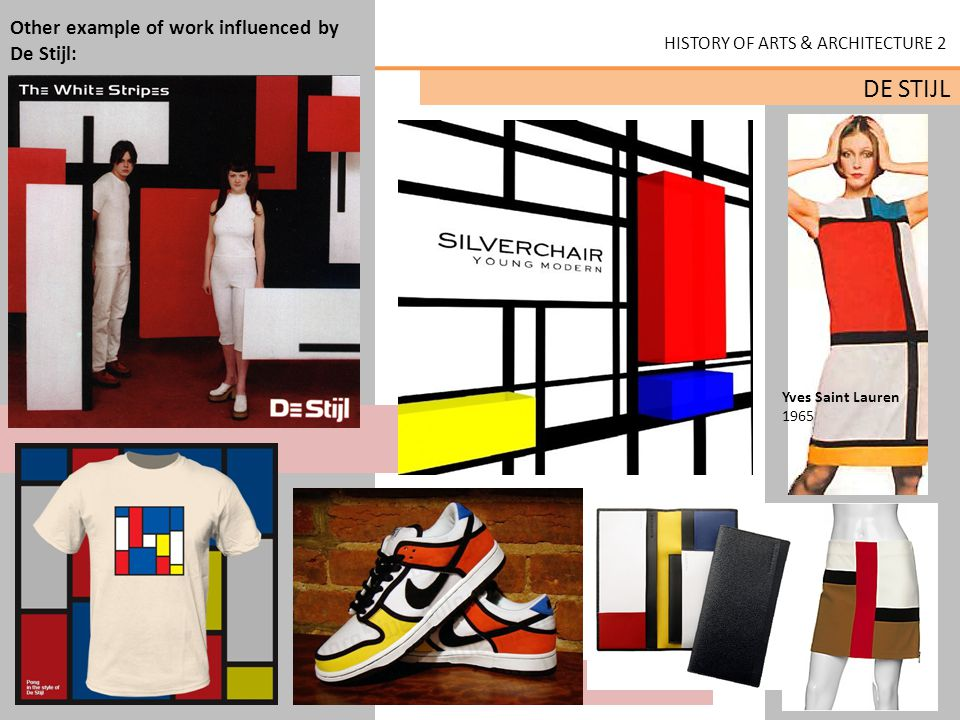 Other example of work influenced by De Stijl: