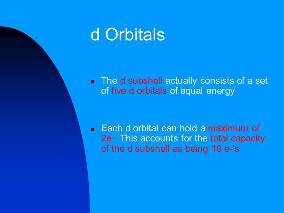 d Orbitals The d subshell actually consists of a set of five d orbitals of equal energy.