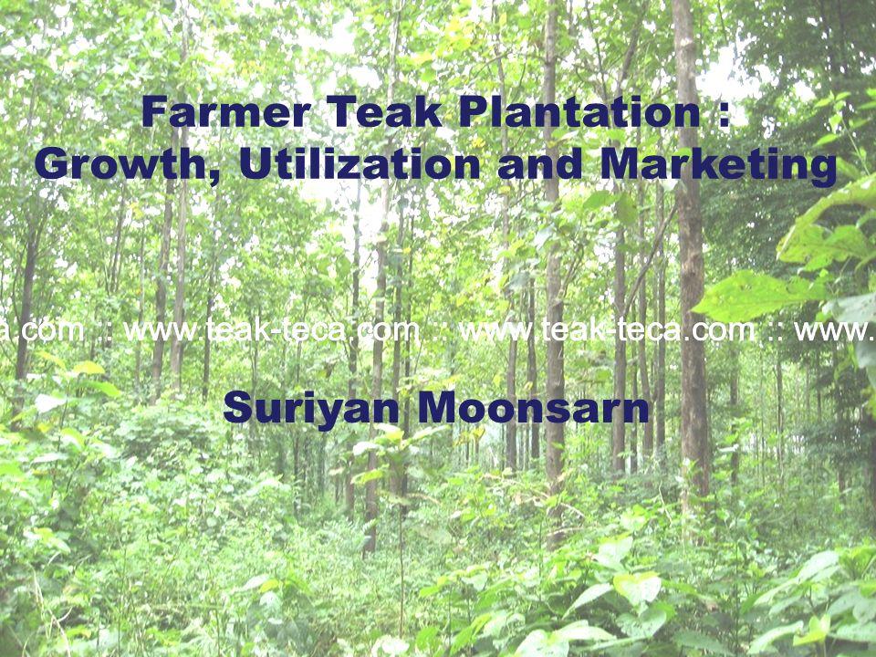 Farmer Teak Plantation : Growth, Utilization and Marketing