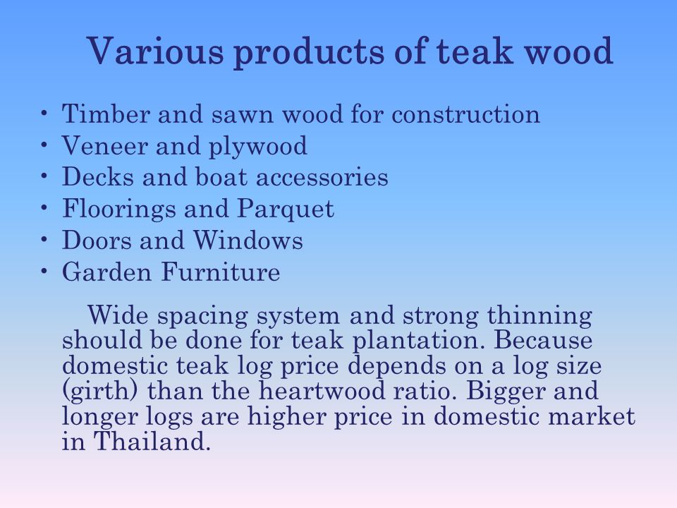 Various products of teak wood