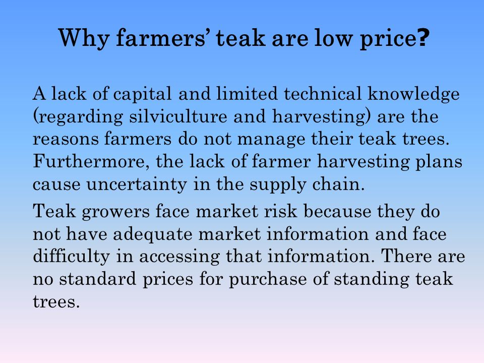 Why farmers' teak are low price