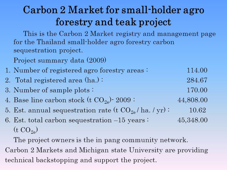 Carbon 2 Market for small-holder agro forestry and teak project