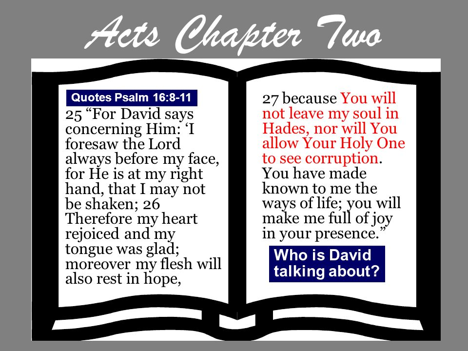 Acts Chapter Two Quotes Psalm 16:8-11.