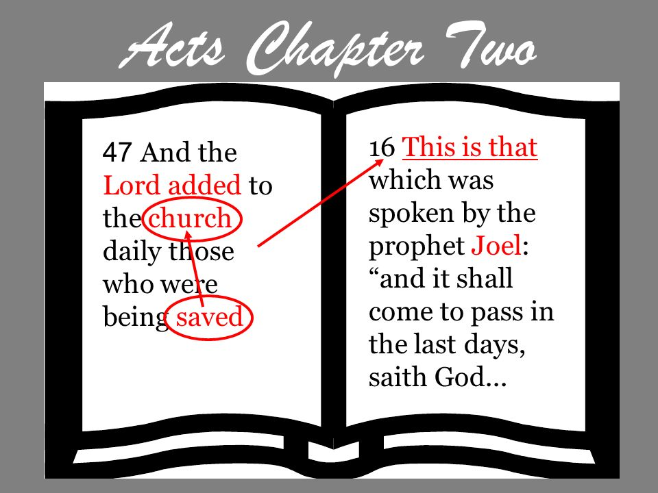 Acts Chapter Two 16 This is that which was spoken by the prophet Joel: and it shall come to pass in the last days, saith God...