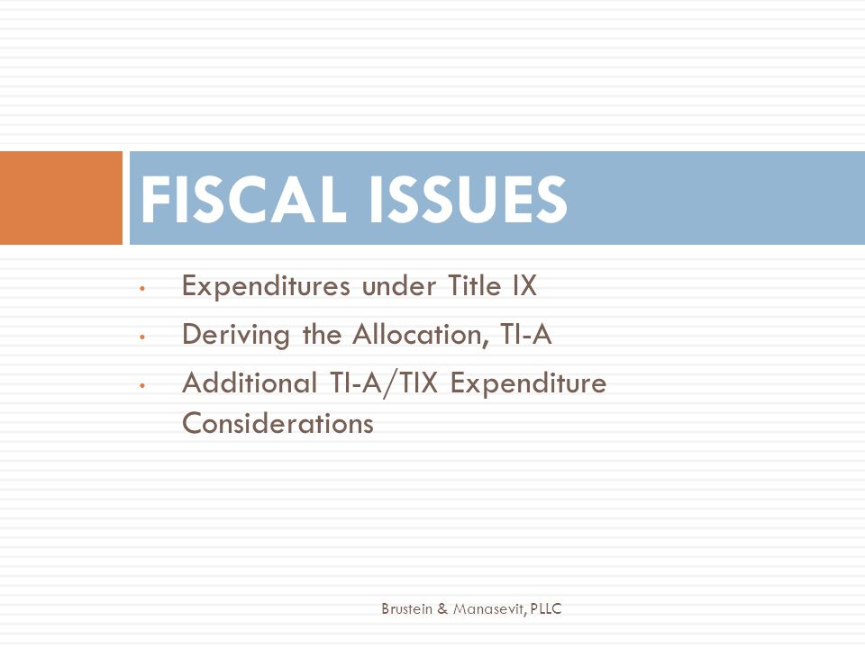 FISCAL ISSUES Expenditures under Title IX