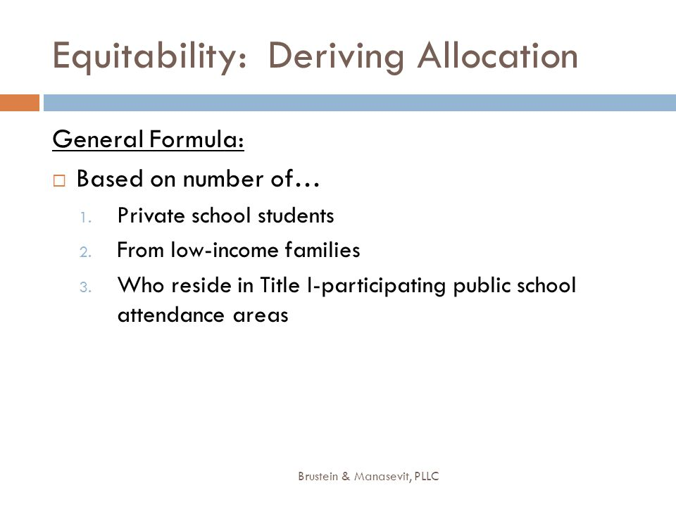 Equitability: Deriving Allocation