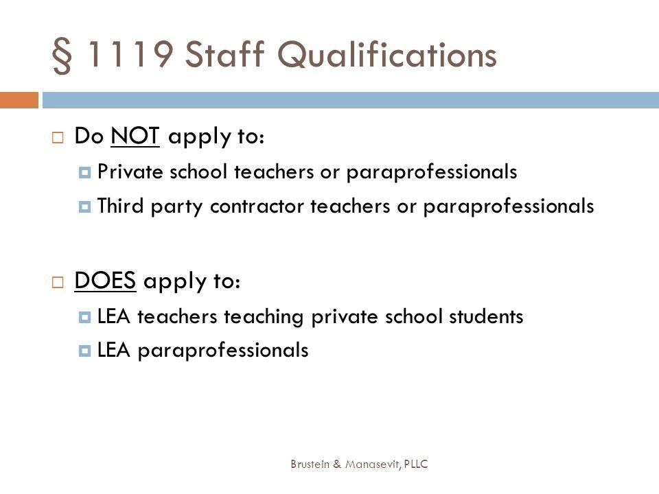 § 1119 Staff Qualifications