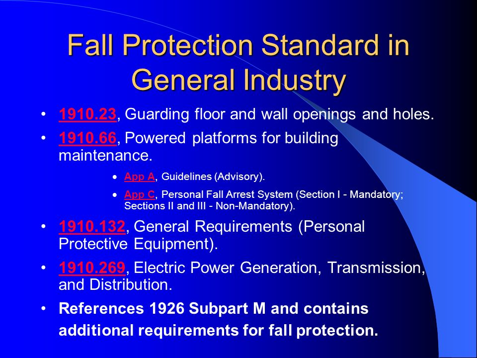 Fall Protection Standard in General Industry