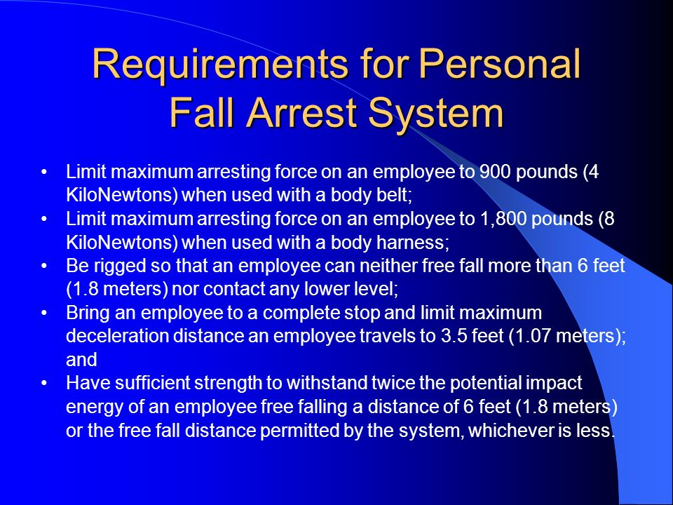 Requirements for Personal Fall Arrest System