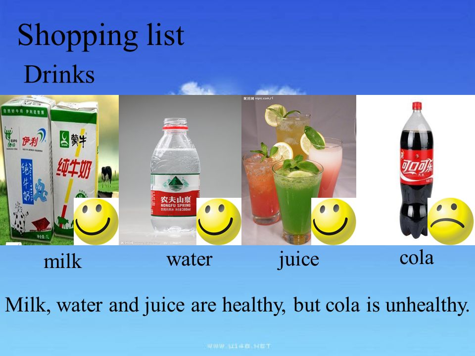 Shopping list Drinks milk water juice cola