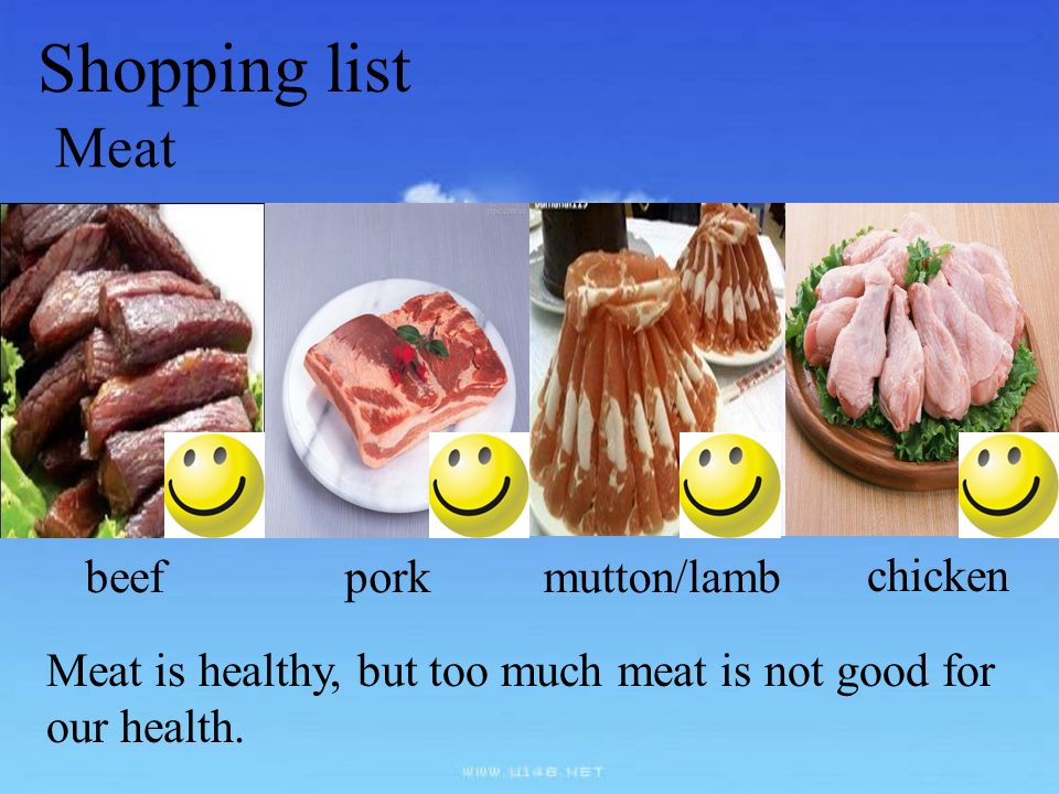 Shopping list Meat beef pork mutton/lamb chicken