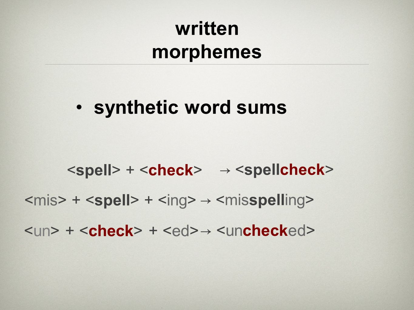 written morphemes synthetic word sums