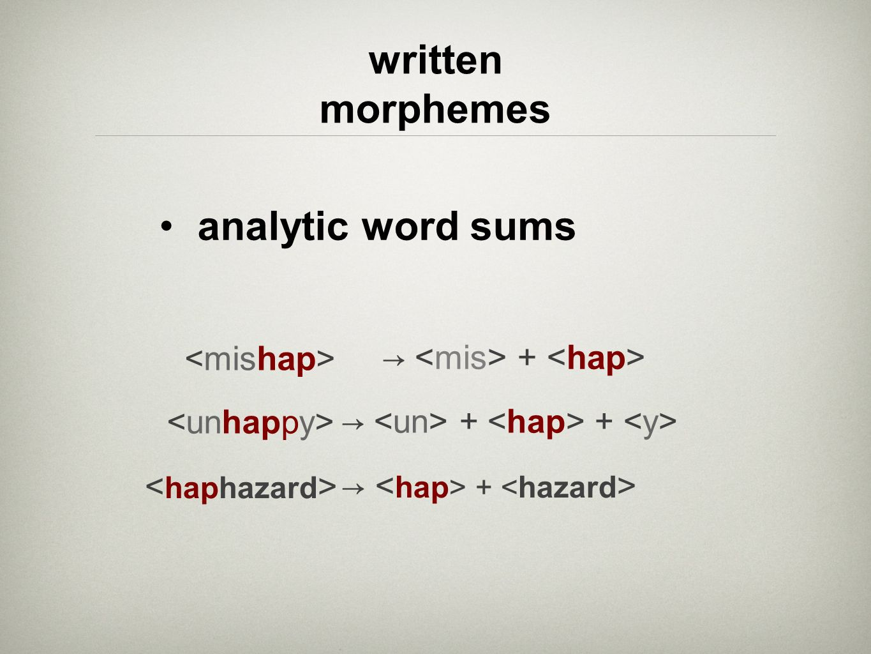 written morphemes analytic word sums <haphazard>