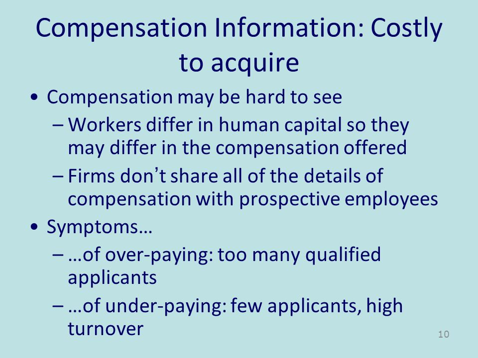 Compensation Information: Costly to acquire