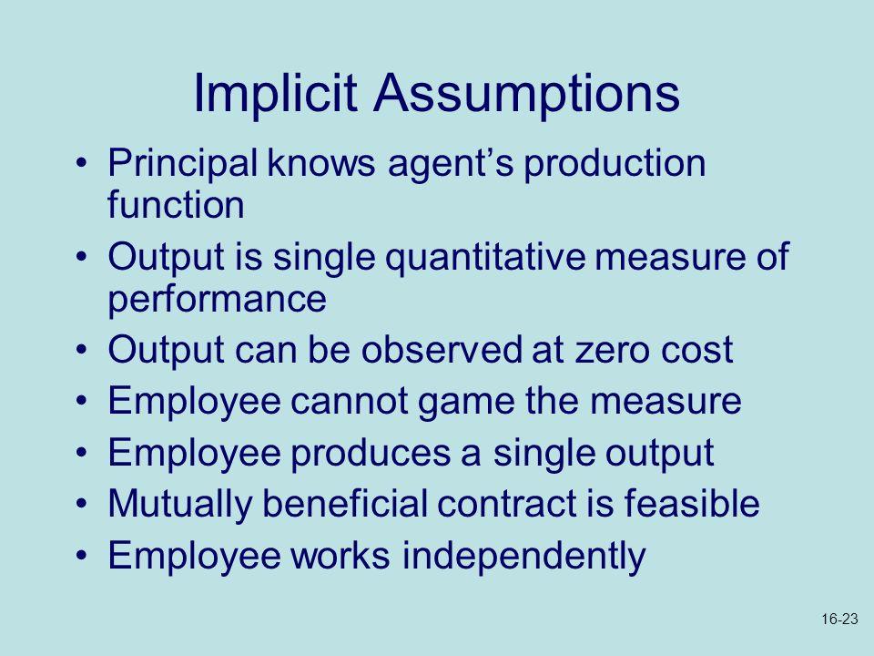 Implicit Assumptions Principal knows agent's production function