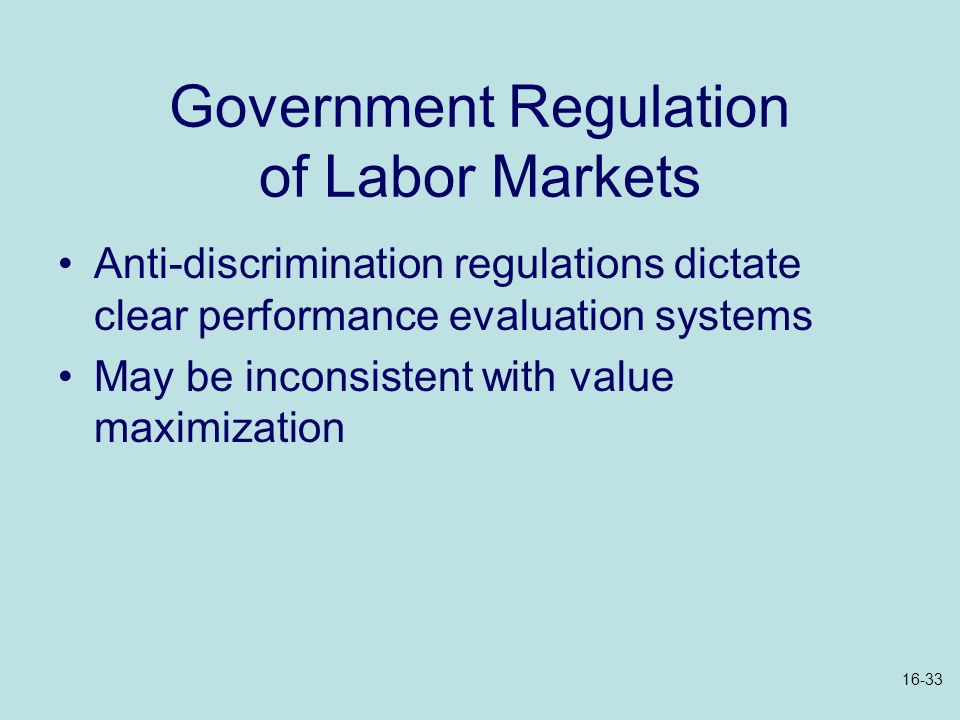 Government Regulation of Labor Markets