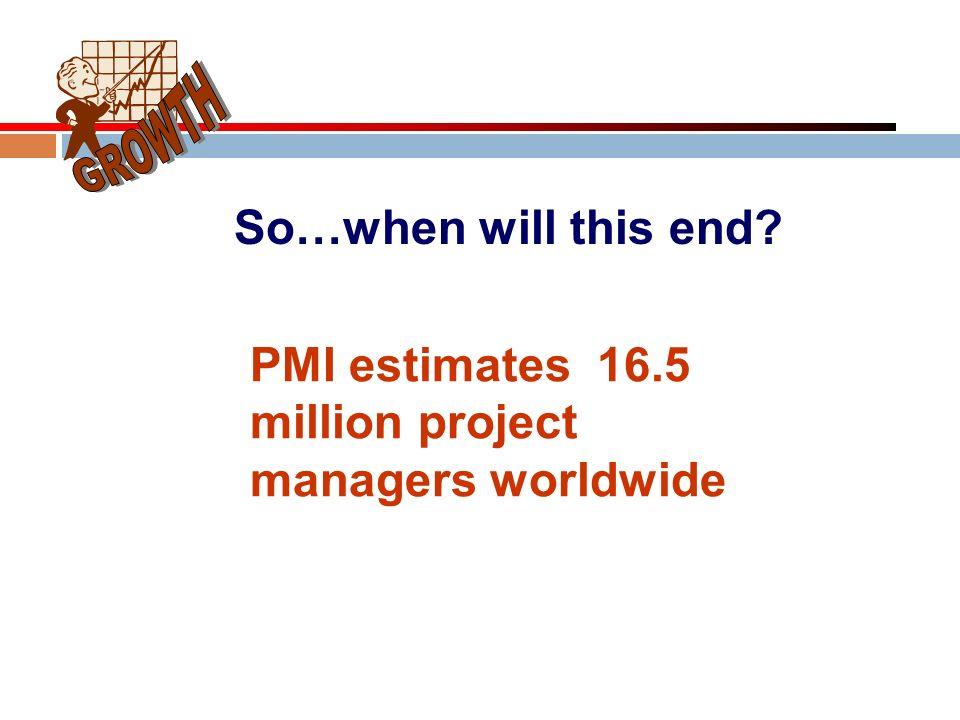 PMI estimates 16.5 million project managers worldwide