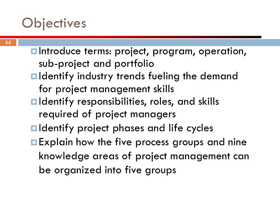 Objectives Introduce terms: project, program, operation, sub-project and portfolio.