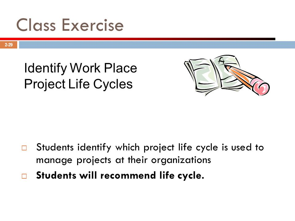 Class Exercise Identify Work Place Project Life Cycles
