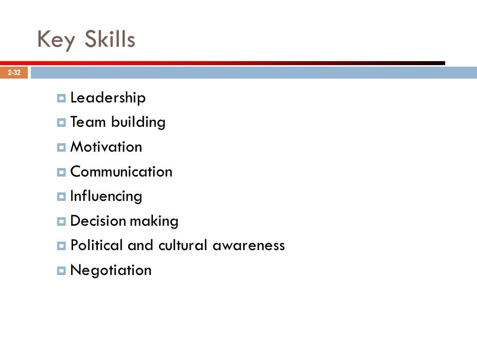 Key Skills Leadership Team building Motivation Communication