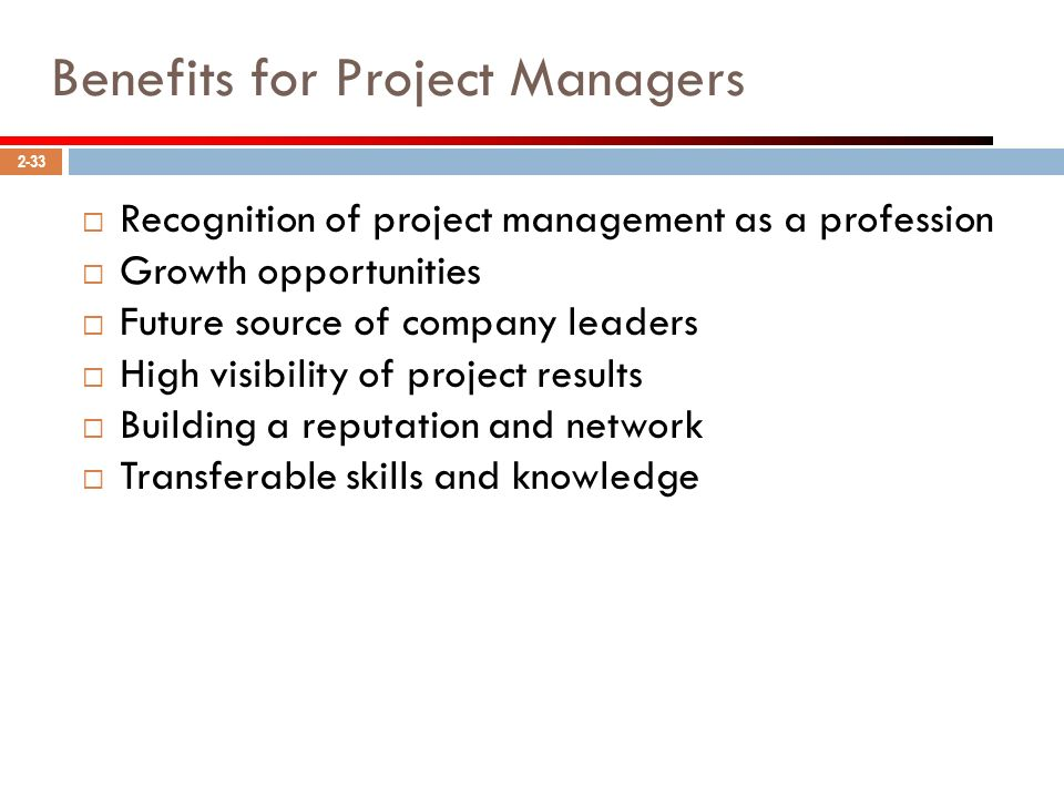 Benefits for Project Managers