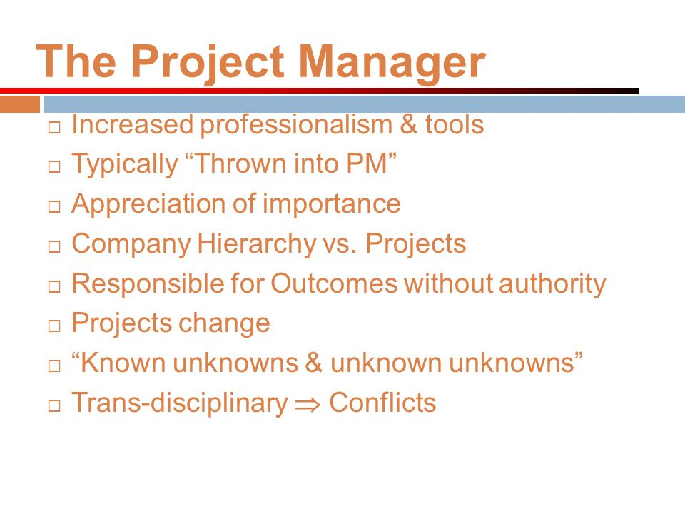The Project Manager Increased professionalism & tools