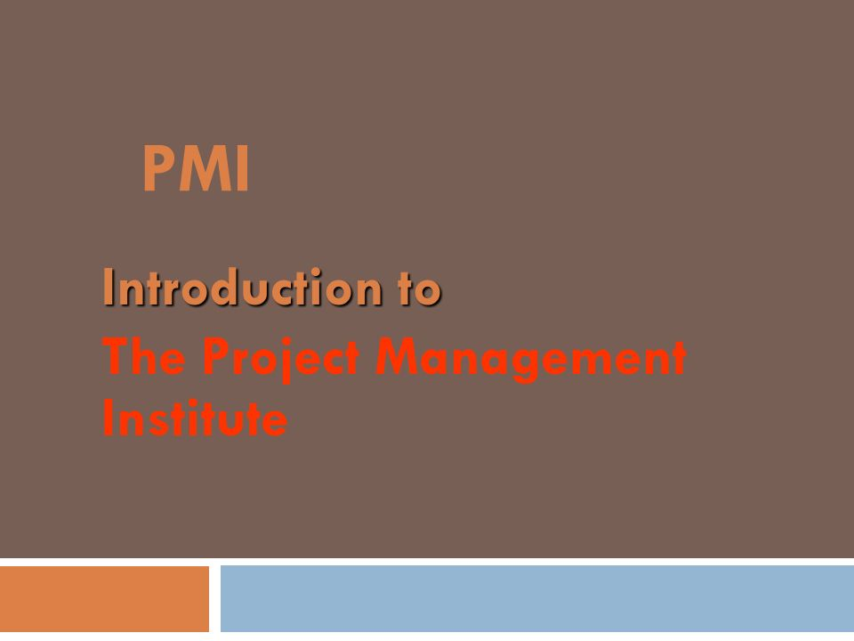 Introduction to The Project Management Institute