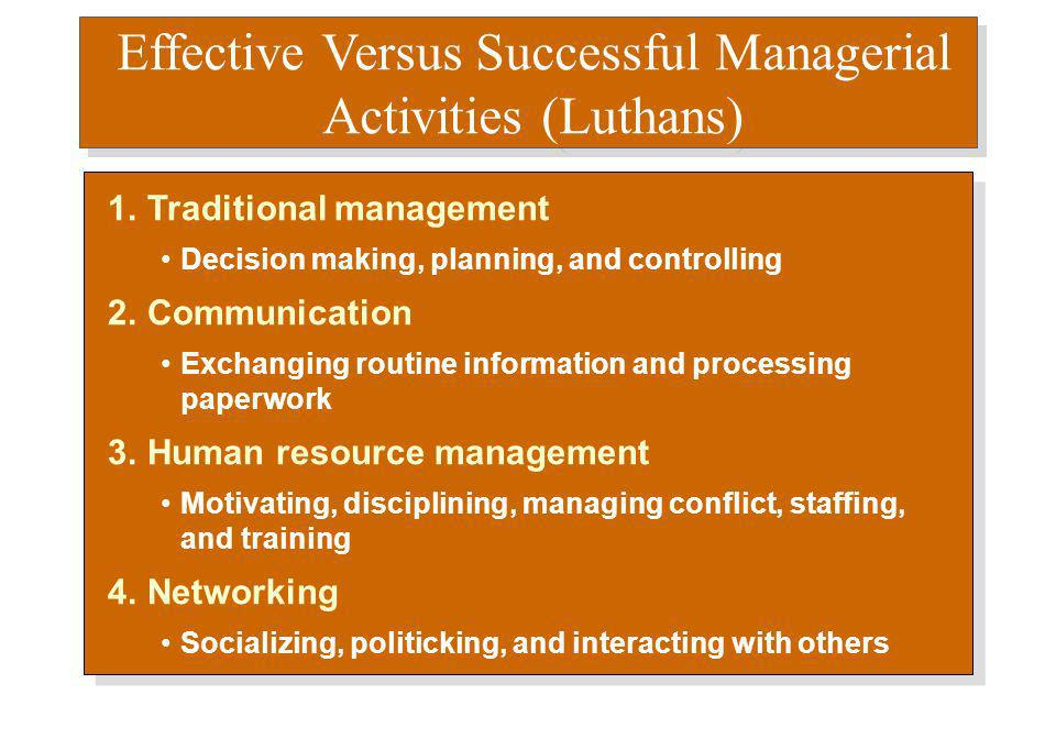 luthans study of managerial activities Study mgmt 3720 chapter 1 flashcards are defined as people who oversee the activities of others according to fred luthans and his associates' study of.