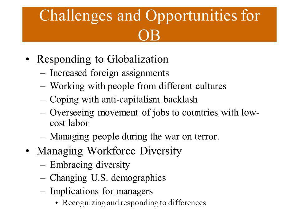 Challenges and Opportunities for OB