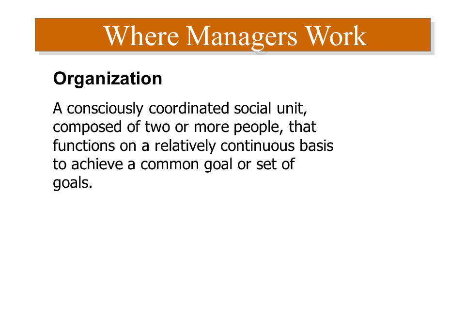 Where Managers Work Organization