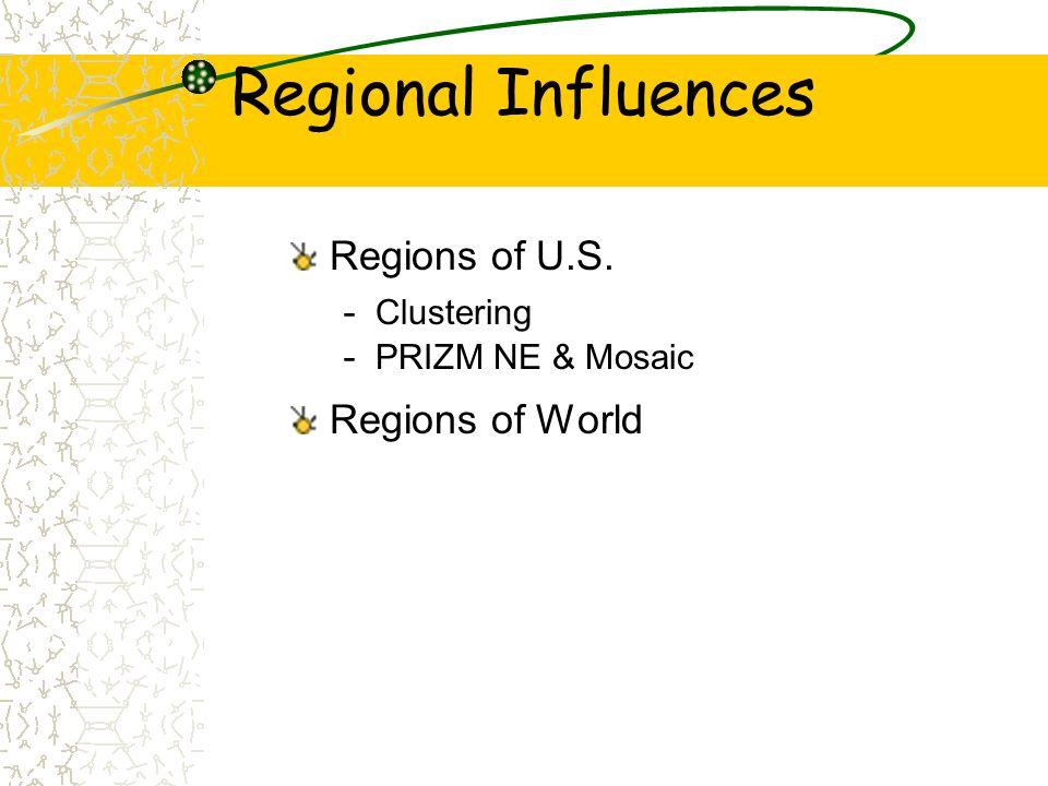 Regional Influences Regions of U.S. Regions of World Clustering