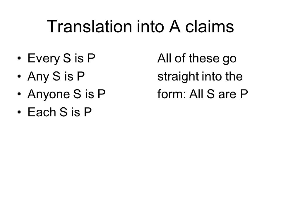 Translation into A claims
