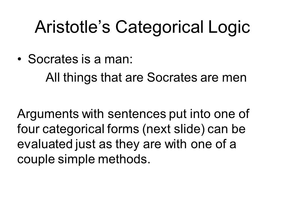 Aristotle's Categorical Logic