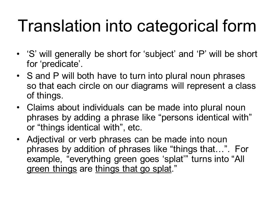 Translation into categorical form