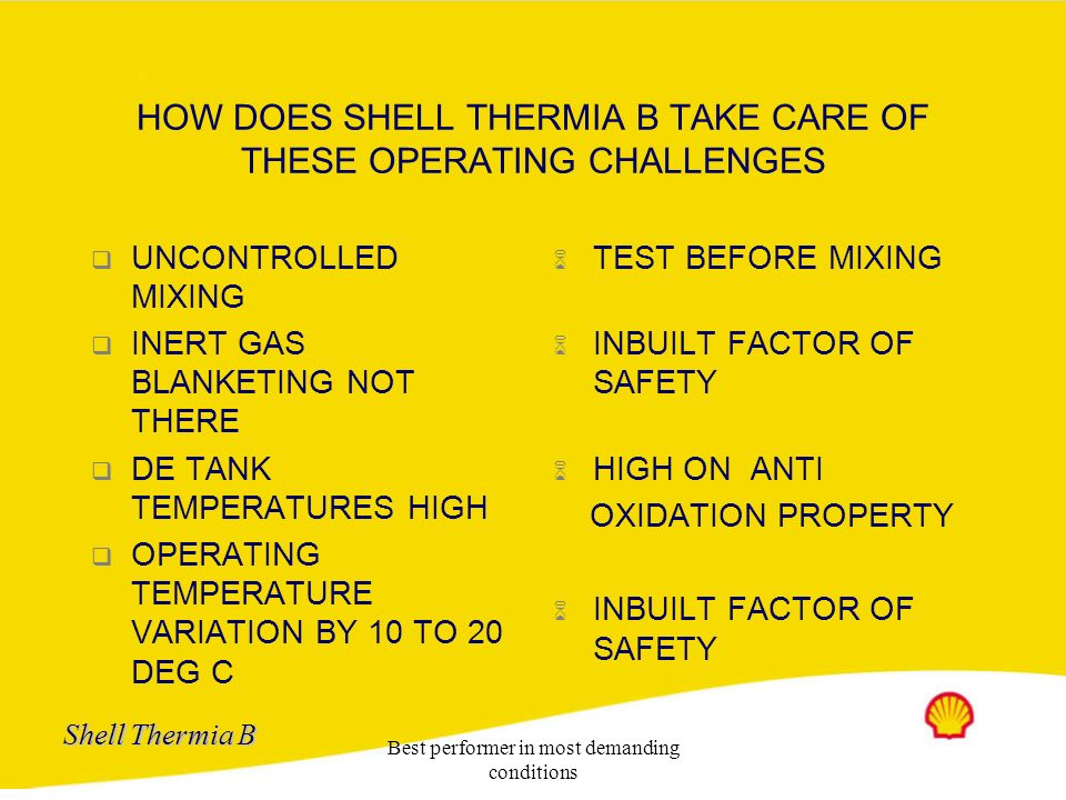 HOW DOES SHELL THERMIA B TAKE CARE OF THESE OPERATING CHALLENGES