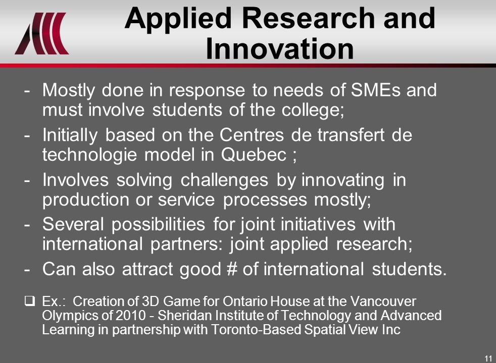 Applied Research and Innovation