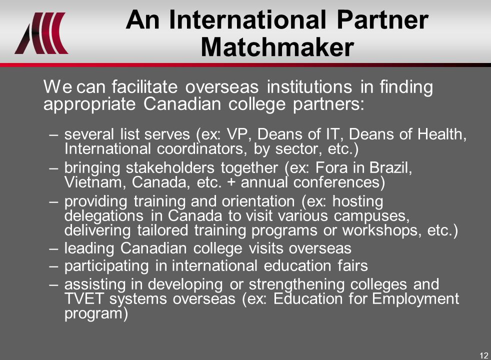 An International Partner Matchmaker