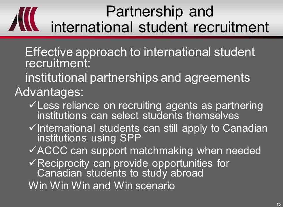 Partnership and international student recruitment