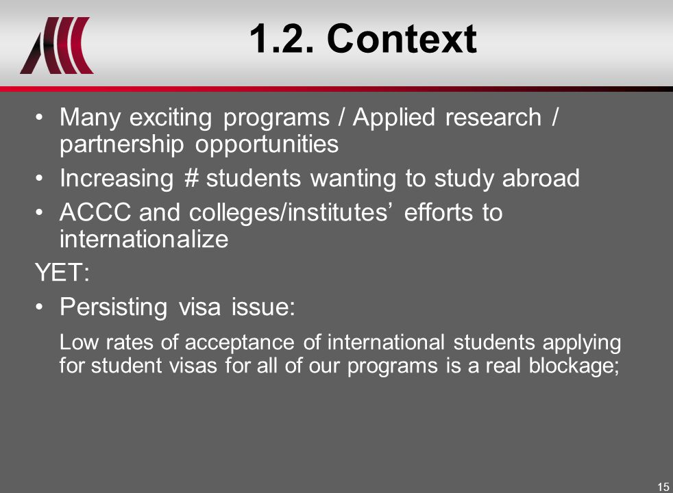 1.2. Context Many exciting programs / Applied research / partnership opportunities. Increasing # students wanting to study abroad.