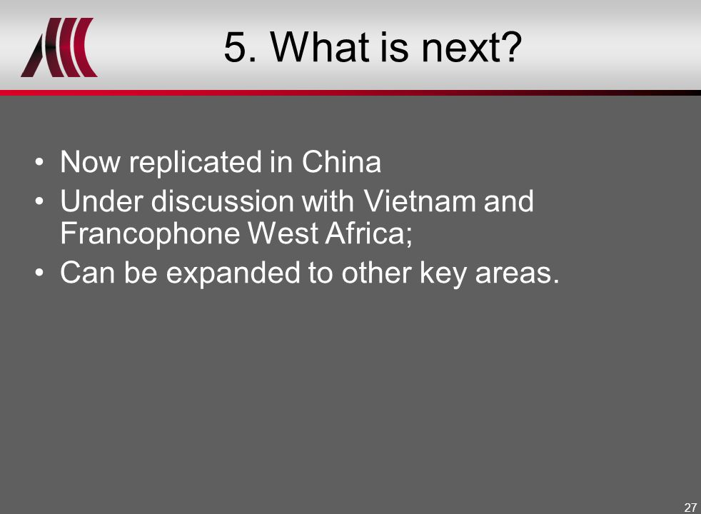 5. What is next Now replicated in China
