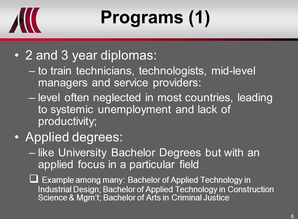 Programs (1) 2 and 3 year diplomas: Applied degrees: