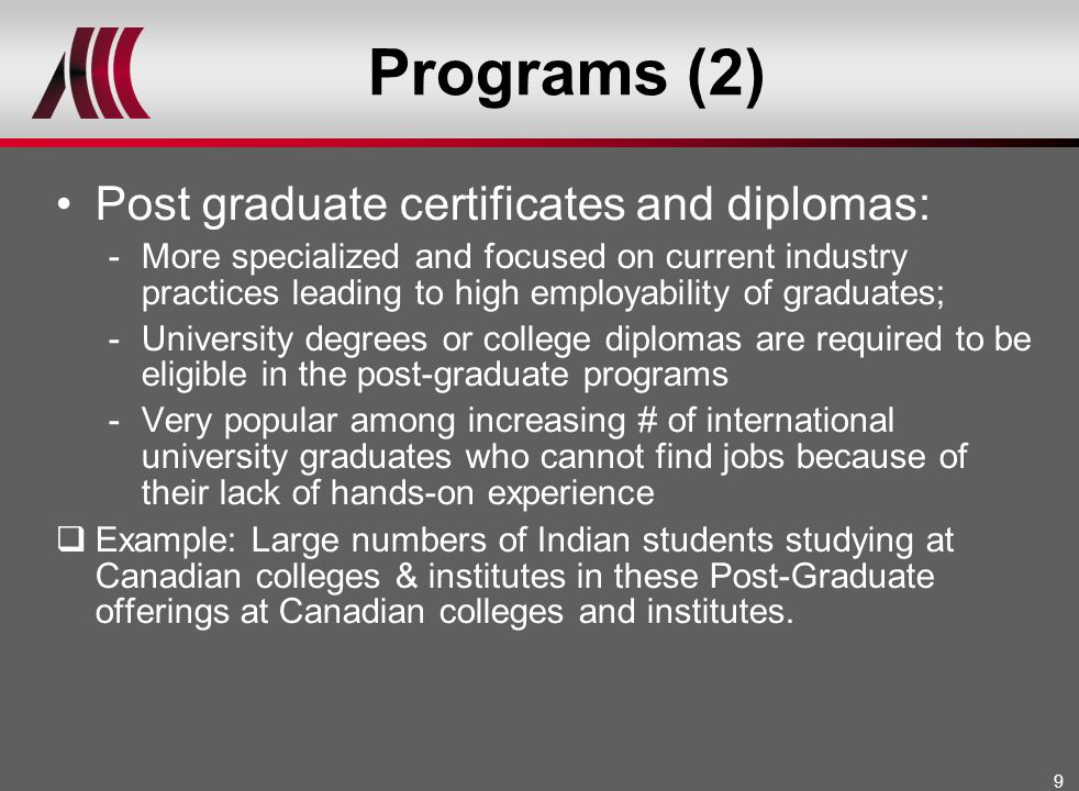 Programs (2) Post graduate certificates and diplomas: